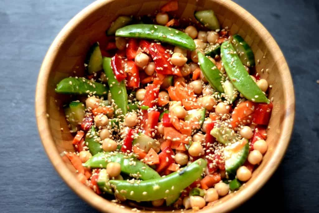 Chickpea Salad with Ginger & Sesame Dressing