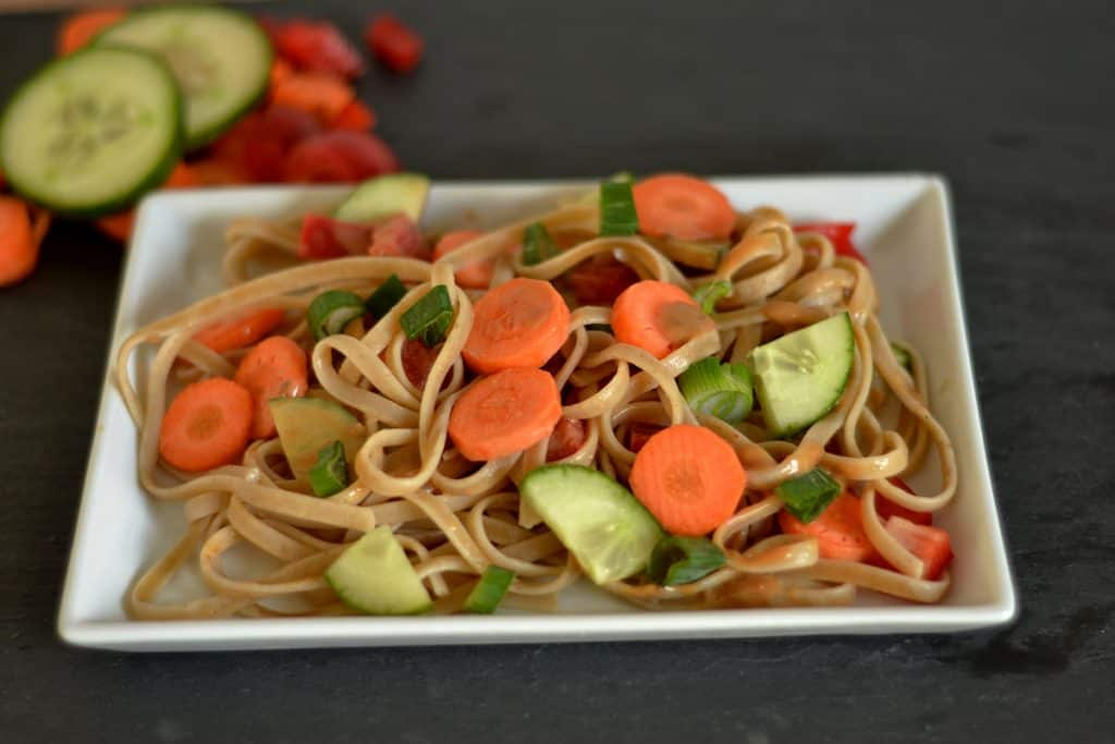 Ginger Peanut Noodles with Vegetables