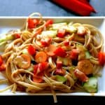 Vegetables and Noodles with Ginger Peanut Sauce