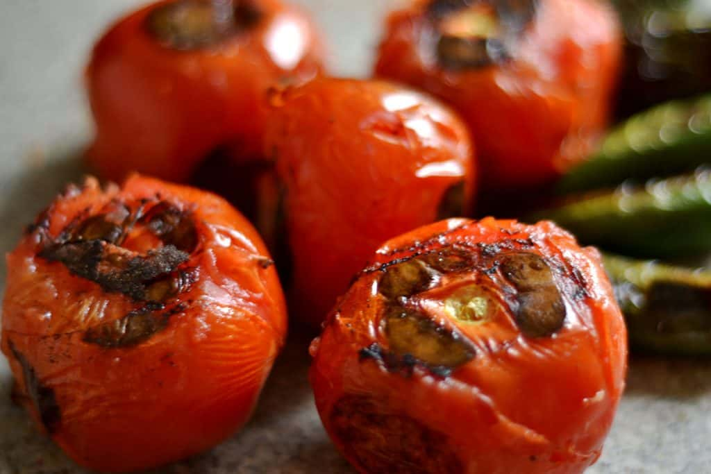charred tomatoes after cooking