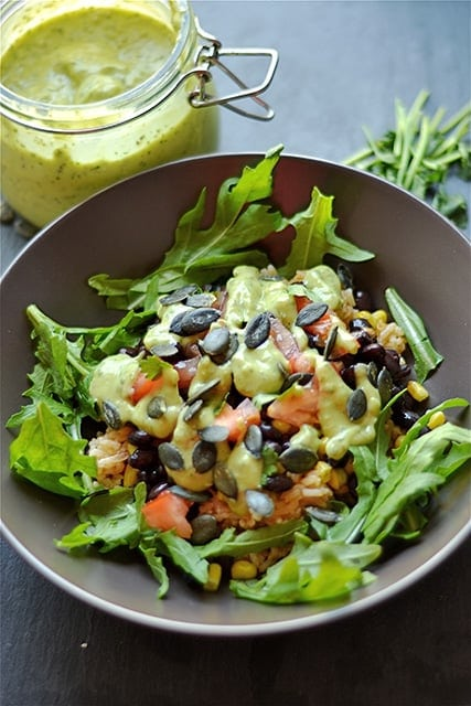 Black Bean and Rice Bowl with Creamy Avocado Sauce 1