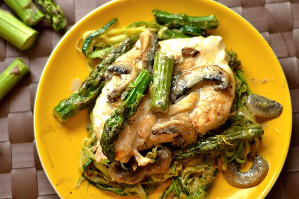 Creamy Lemon Chicken with Asparagus and Mushrooms - Wholesomelicious