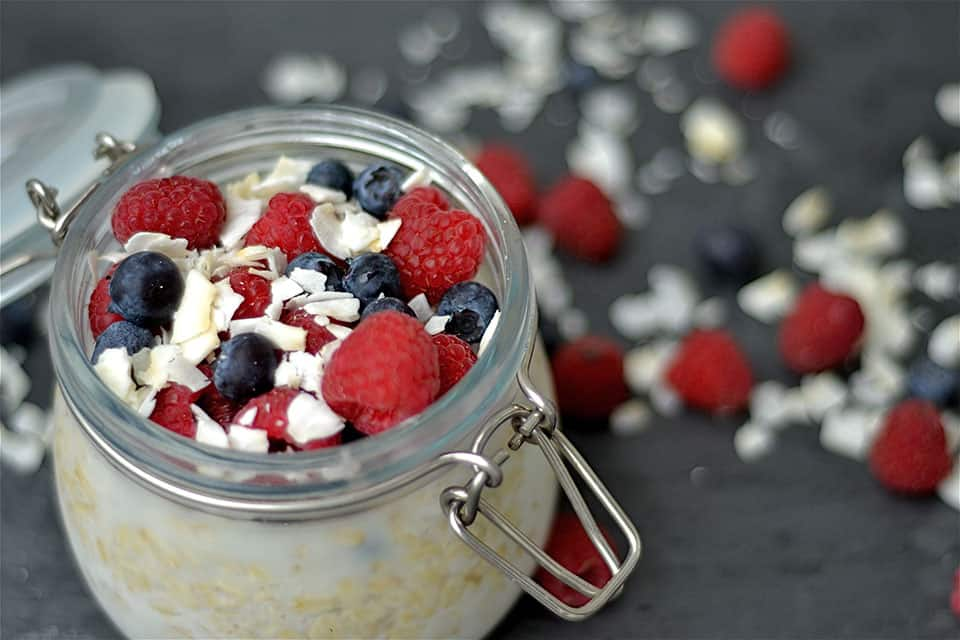 Red, White, and Blueberry Overnight Oats