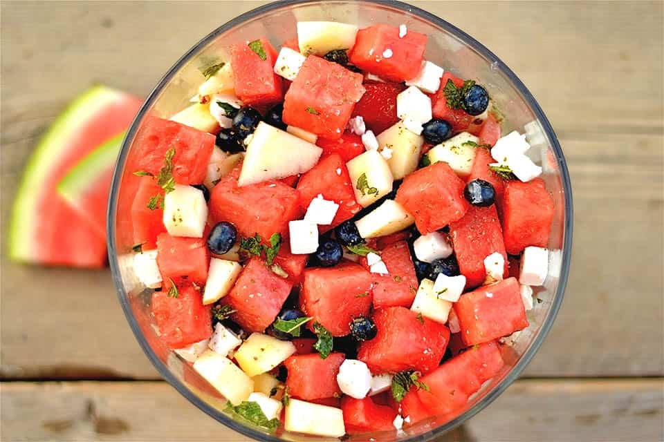Watermelon, Blueberry, and Apple Salad with Feta