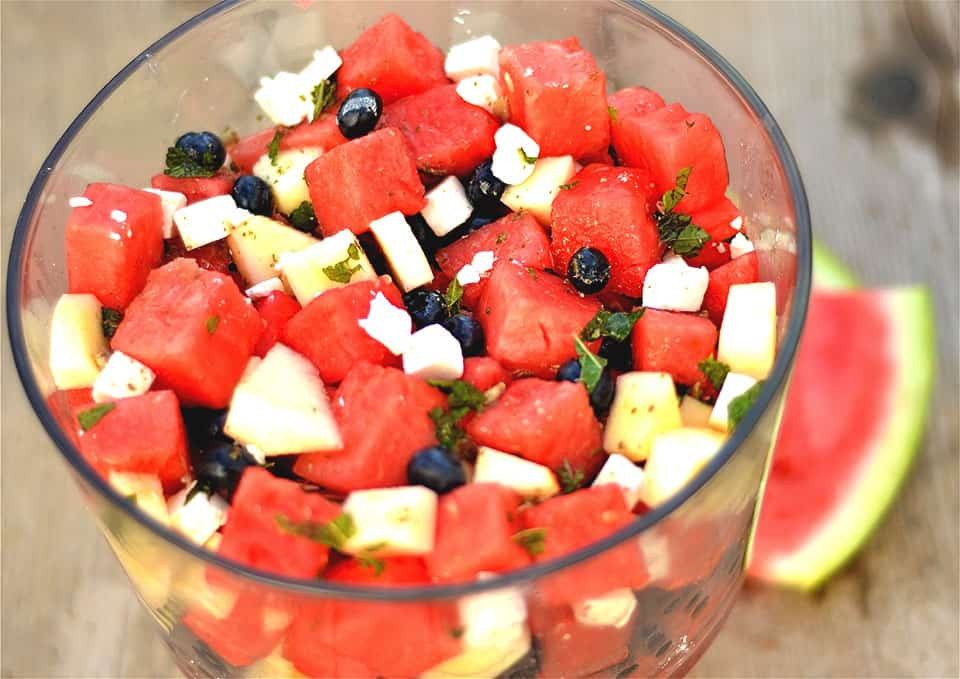 Watermelon, Blueberry, and Apple Salad