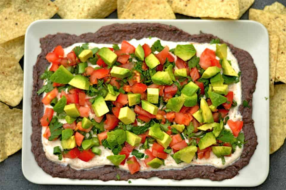 Black Bean and Chipotle Hummus Layered Dip