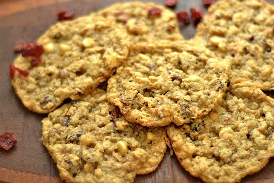 Gluten Free Oatmeal Cranberry & White Chocolate Chip Cookies