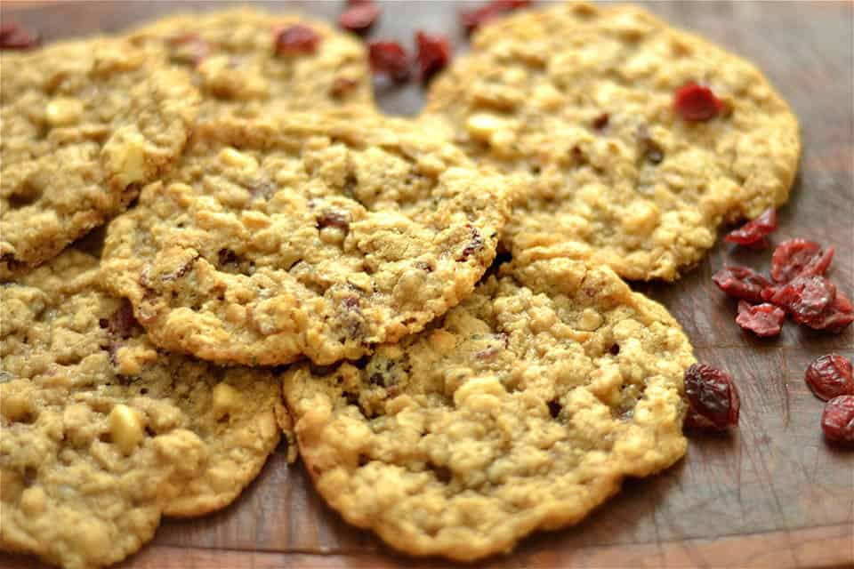 Gluten Free Oatmeal Cranberry White Chocolate Chip Cookies
