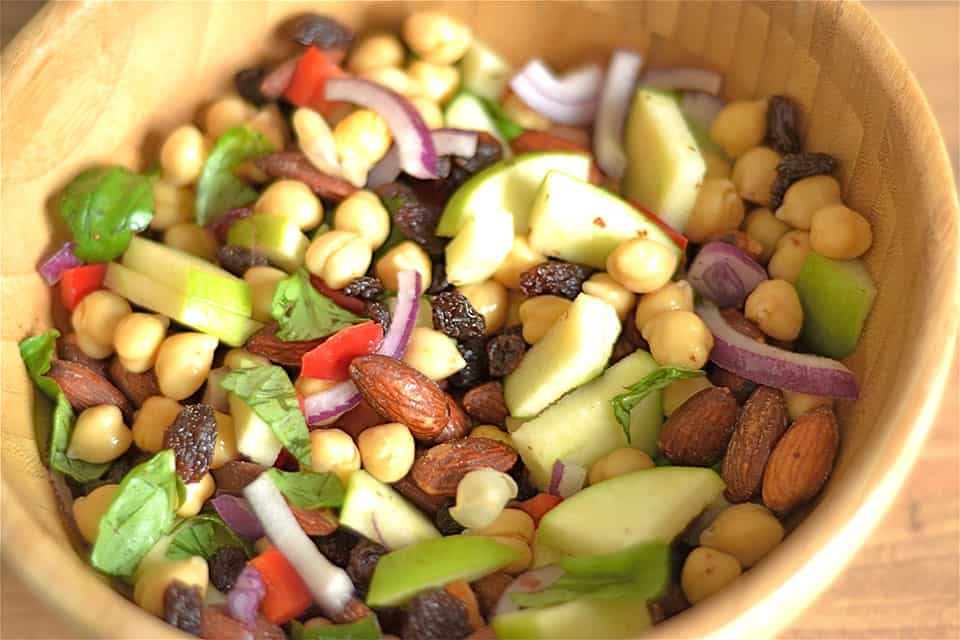 Coconut Basil Curry Chickpea and Apple Salad