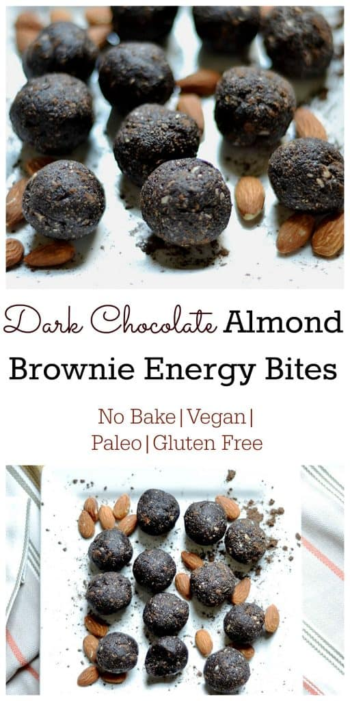 Dark Chocolate Almond Brownie Energy Bites Pin