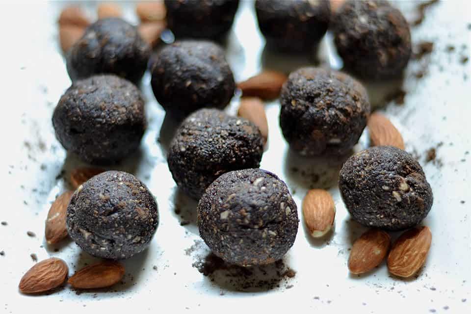 Dark Chocolate Almond Brownie No Bake Energy Bites 2