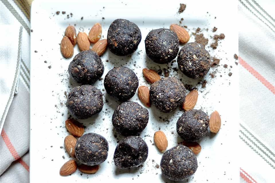 Dark Chocolate Almond Brownie No Bake Energy Bites
