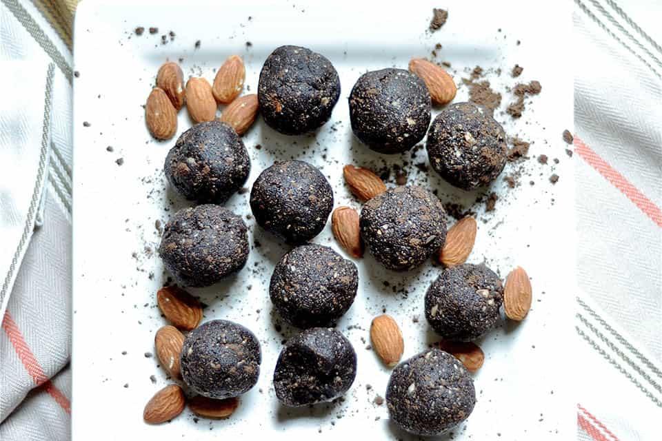 Dark Chocolate Almond Brownie No Bake Energy Bites