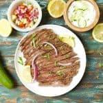Greek Marinated Flank Steak with Tzatziki Sauce