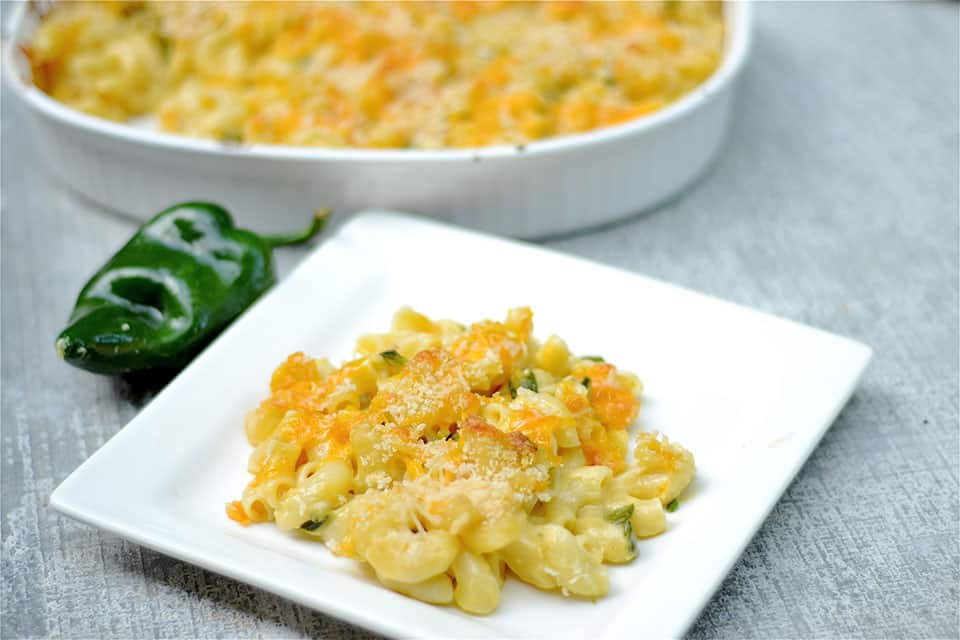 Baked Mac and Cheese with Poblano Peppers