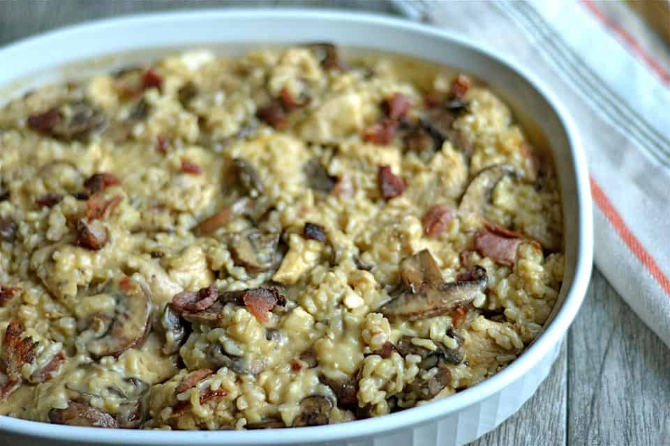 Cheesy Brown Rice Chicken Casserole With Mushrooms And Bacon