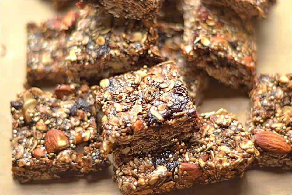 Chewy Chocolate Cherry Almond Granola Bars - Wholesomelicious