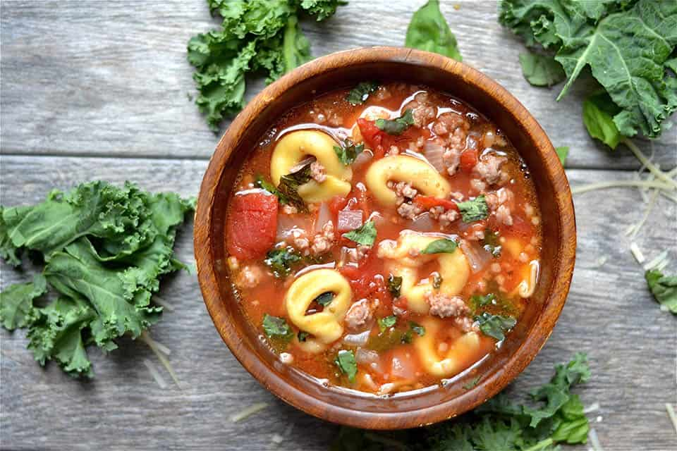 Slow Cooker Sausage, Kale and Tortellini Soup