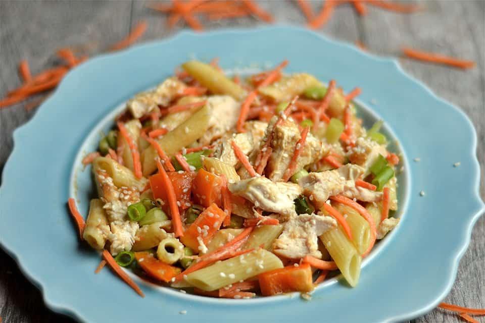 Thai Peanut Chicken Pasta Salad