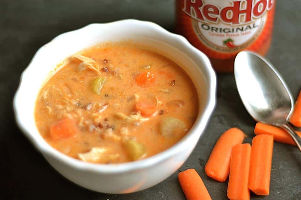 Slow Cooker Buffalo Chicken Chowder with Wild Rice