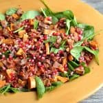 Autumn Spinach Salad with Warm Maple Bacon Dressing