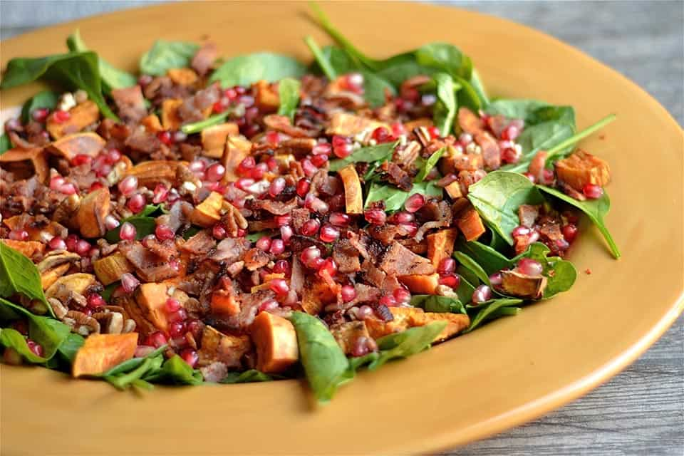 Autumn Spinach Salad with Warm Bacon Dressing 2