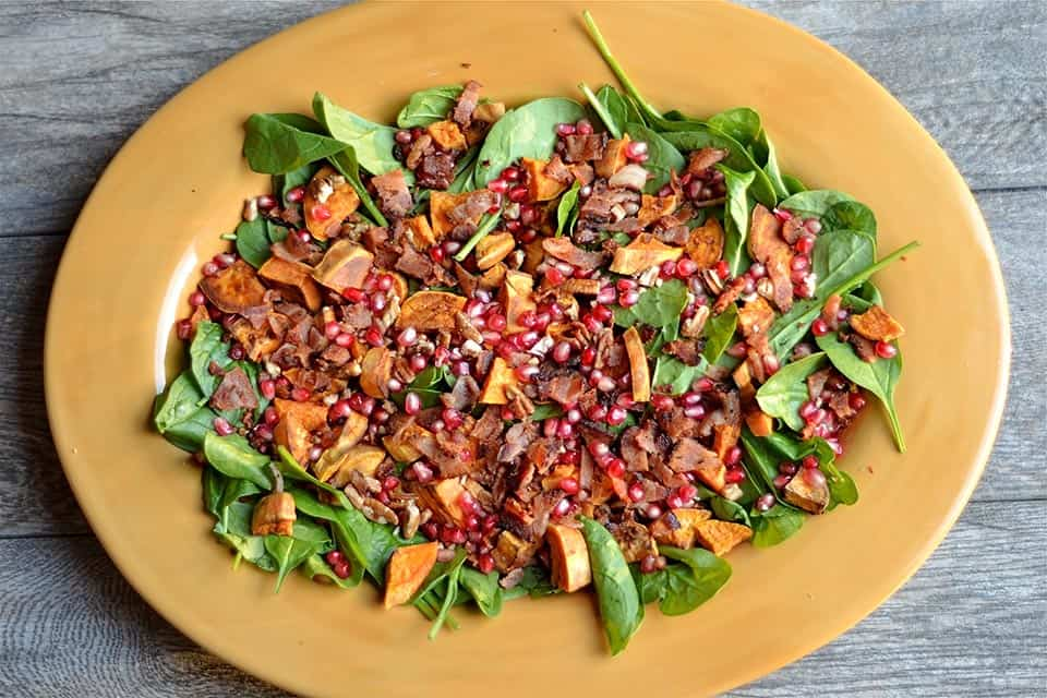 Autumn Spinach Salad with Warm Maple Bacon Dressing ...