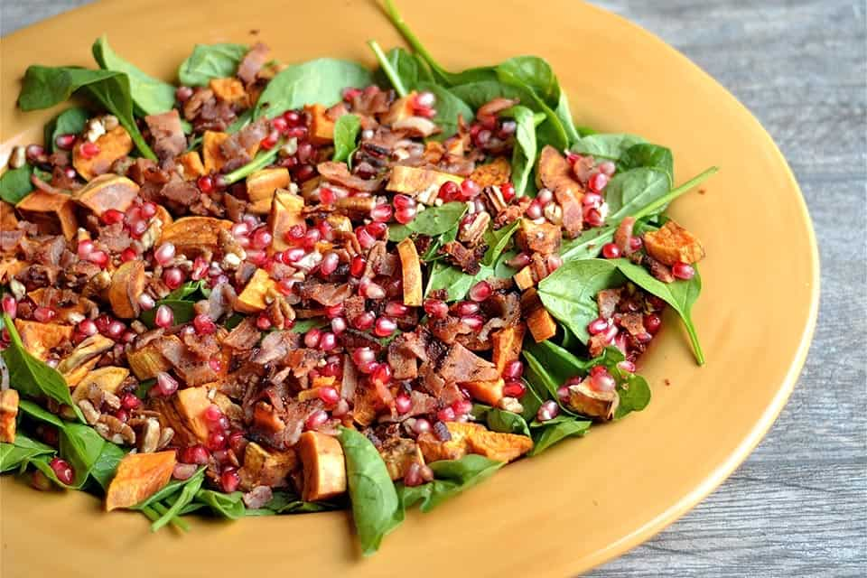Autumn Spinach Salad with Warm Bacon Dressing
