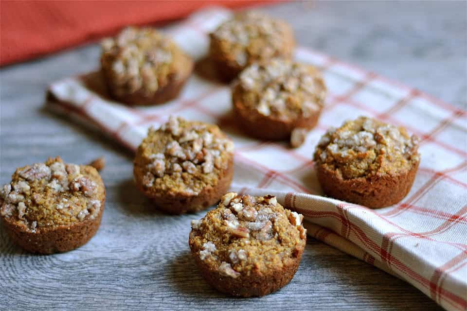 Grain-Free Gingerbread Pumpkin Muffins with Pecan Streusel