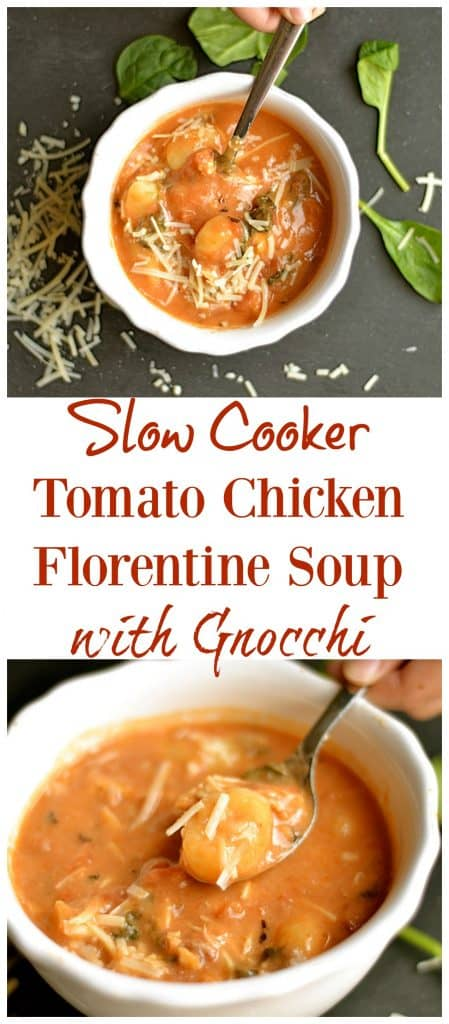Slow Cooker Tomato Chicken Florentine Soup Pin