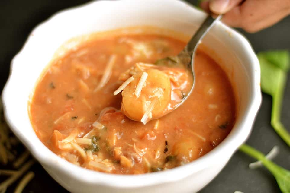 Slow Cooker Tomato Chicken Florentine Soup with Gnocchi 2