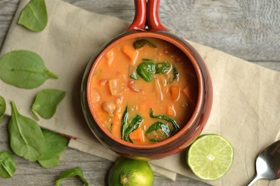 Lime Coconut Curry Chickpea Soup with Quinoa 2