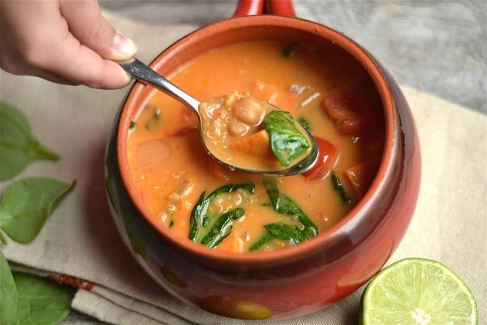 Lime Coconut Curry Chickpea Soup with Quinoa