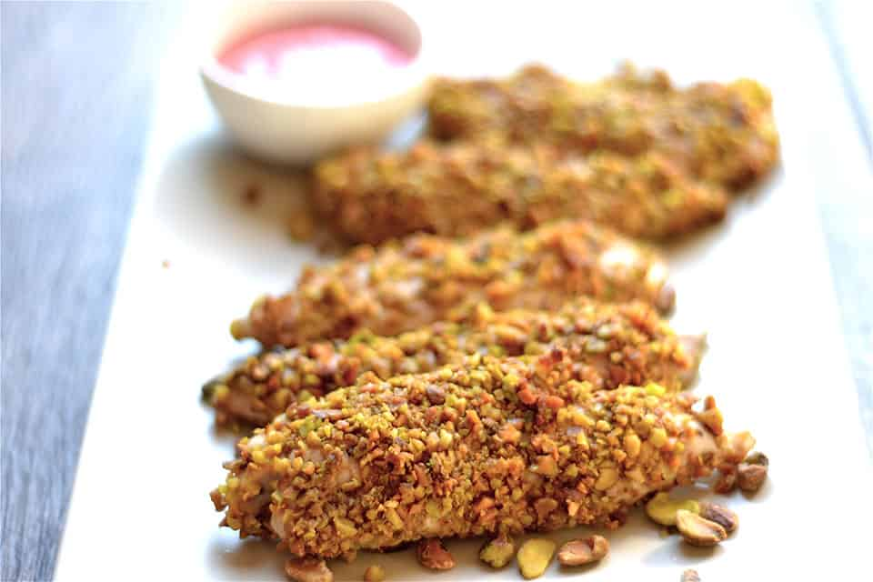 Pistachio crusted chicken with raspberry mustard sauce for Chicken and pork terrine with pistachio