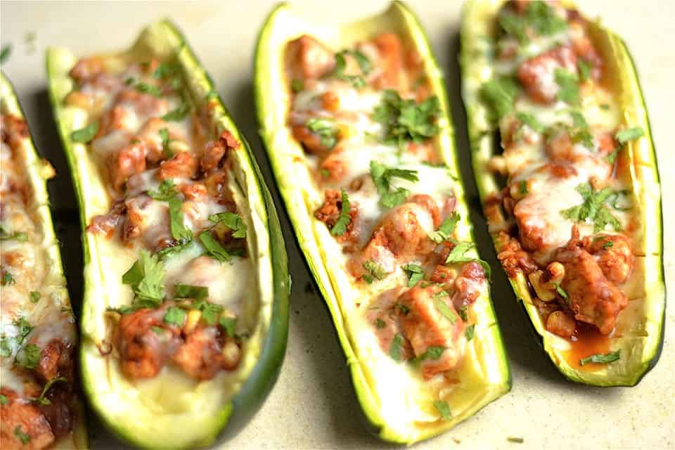 BBQ Chicken Pizza Zucchini Boats 2
