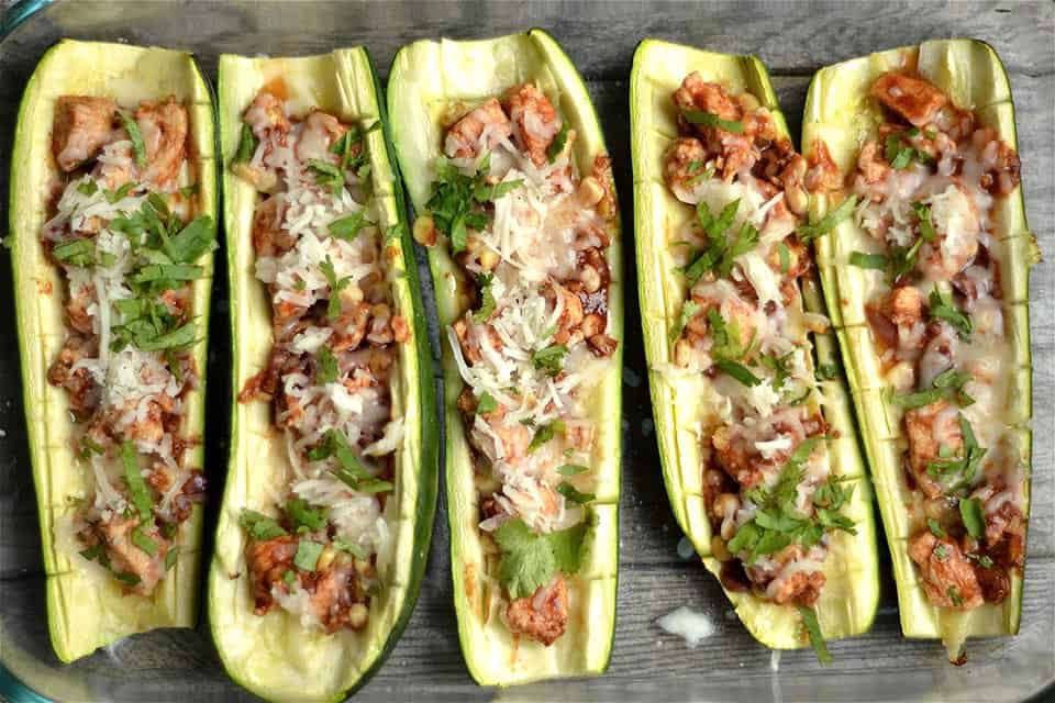 BBQ Chicken Pizza Zucchini Boats 3