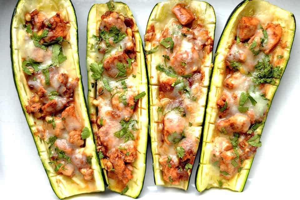 BBQ Chicken Pizza Zucchini Boats