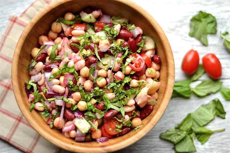 Three Bean Artichoke and Beet Salad