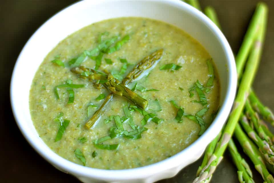 Roasted Asparagus, Cauliflower and Mushroom Soup