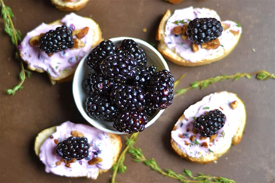 Blackberry, Thyme, and Goat Cheese Crostini 3