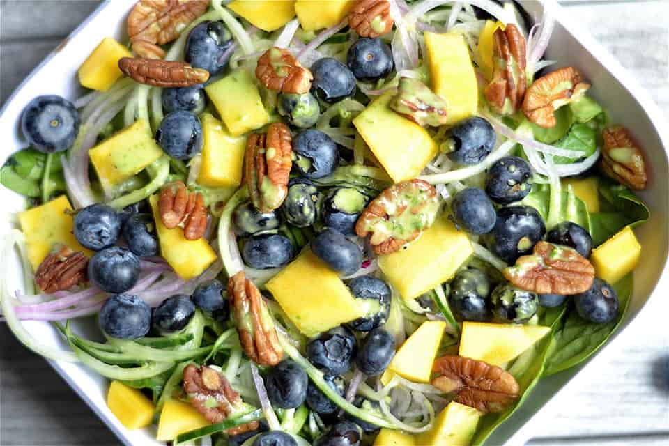 Blueberry and Mango Spinach Salad with Basil Vinaigrette 3