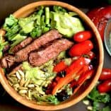 Grilled Fajita Steak Salad with Avocado Cilantro Dressing