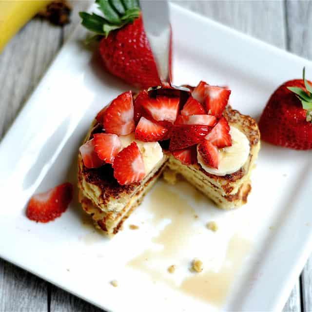 Strawberry Banana Protein Pancakes 4