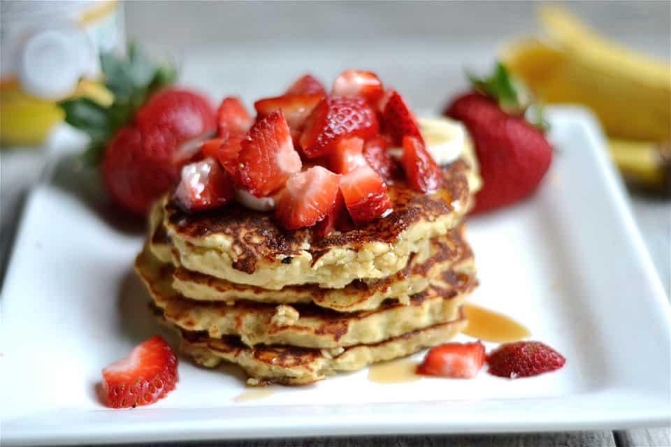 Strawberry Banana Protein Pancakes 5