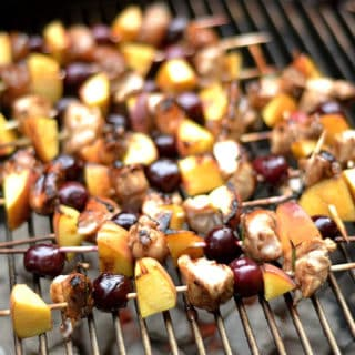 Grilled Balsamic Chicken, Cherry, and Peach Kabobs