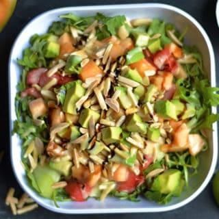 Melon and Arugula Salad with Honey Lime Vinaigrette