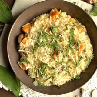 Butternut Squash and Mushroom Risotto with Sage