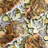 One Pan Dill Pistachio Salmon with Veggies