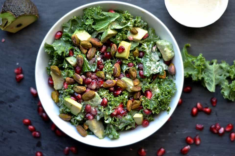 Kale, Pomegranate, and Avocado Salad with Zesty Tahini Dressing ...