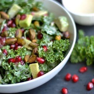 Kale, Pomegranate, and Avocado Salad with Zesty Tahini Dressing